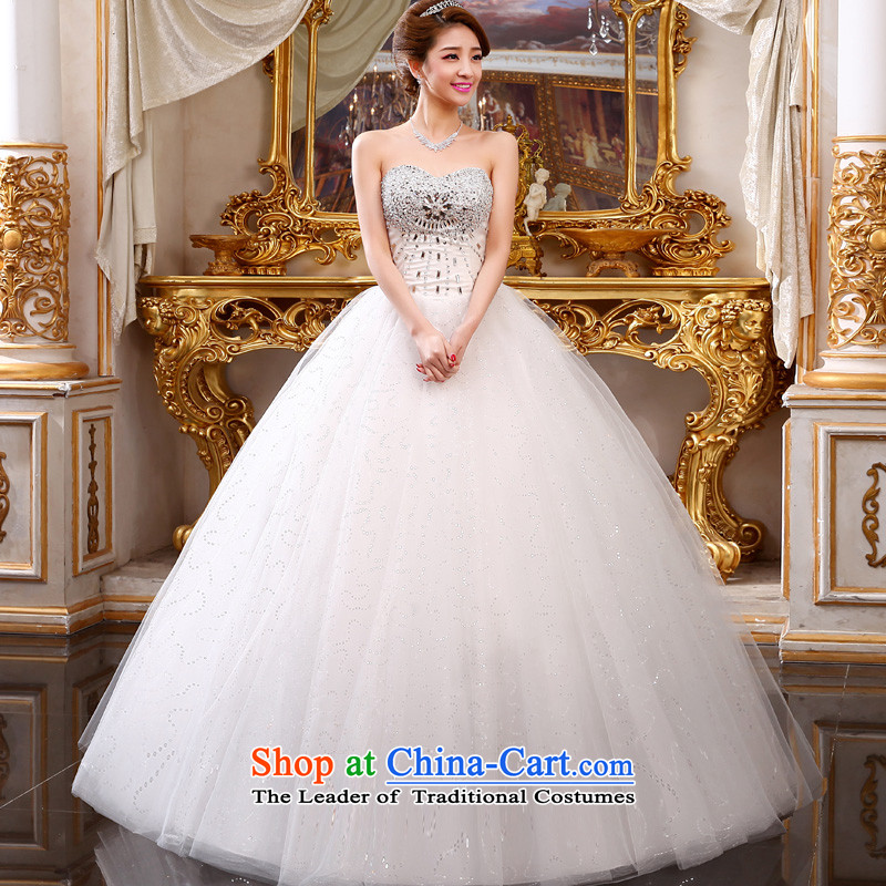 The privilege of serving-leung 2015 new bride Korean Modern Luxury depilation princess chest straps wedding dress wedding dress White XXL