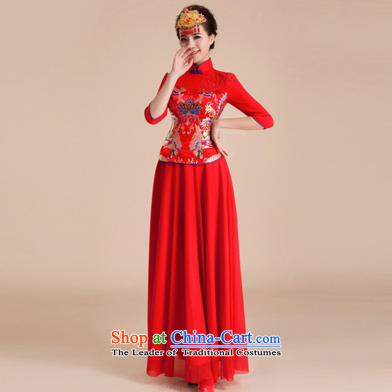 The end of the light (QM) cheongsam wedding dresses marriage retro in improved bows long-sleeved bride long red M light QP84 CTX end shopping on the Internet has been pressed.
