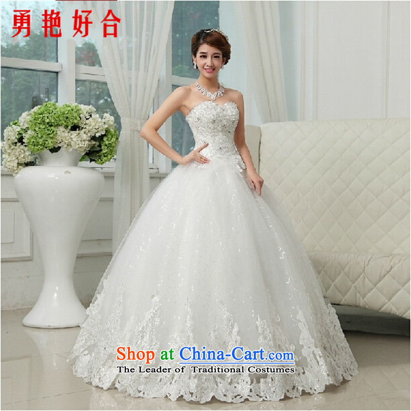 Yong-yeon and bride wedding dresses new 2015 winter marriage to align with chest stylish large fat mm thin hunsha graphics drill White�M
