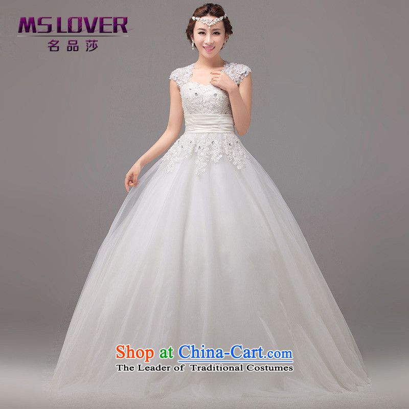 聽French elegant retro mslover shoulders and sexy back lace The Princess Bride marriage large petticoats ultra ponzi to bind with Wedding聽2268聽m White聽2 feet_ of PUERTORRICANS waist