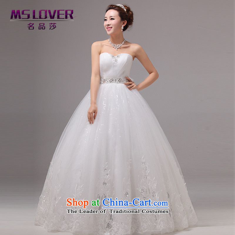 The Korean version of the Top Loin mslover video thin pregnant women wedding flower Princess Bride lace wedding diamond wiping the chest to bind with wedding HS131002 rice white�XS( waist 1 foot 9)