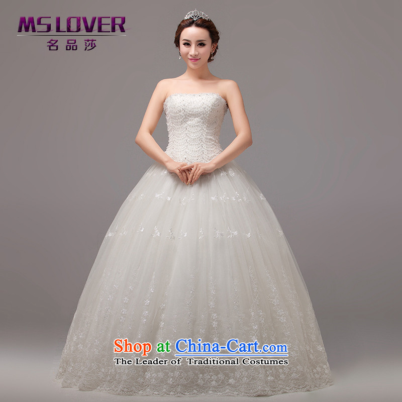 To align the Korean mslover straps bride wedding Princess Foutune of video thin nail pearl wedding manually sweet anointed chest lace wedding HS131005 rice white聽M 2 feet 1 waist