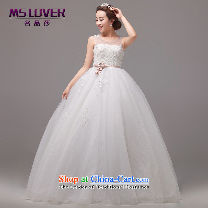 Mslover sexy back Korean Top Loin of Sau San pregnant women wedding lace diamond align to bind with bride bon bon princess wedding HS131007 rice white XS( waist 1 foot 9)