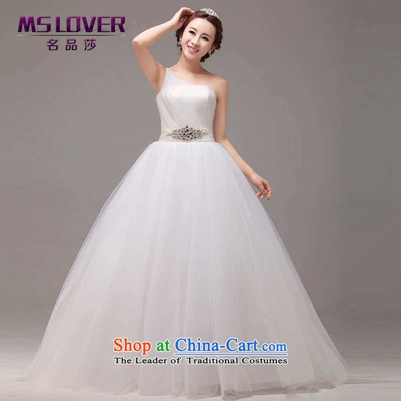 The Korean version of mslover noble oversized petticoats bon bon bride wedding elegant Shoulder Drill alignment to bind the flash with Princess wedding HS131008 rice white tailored - Contact Customer Service