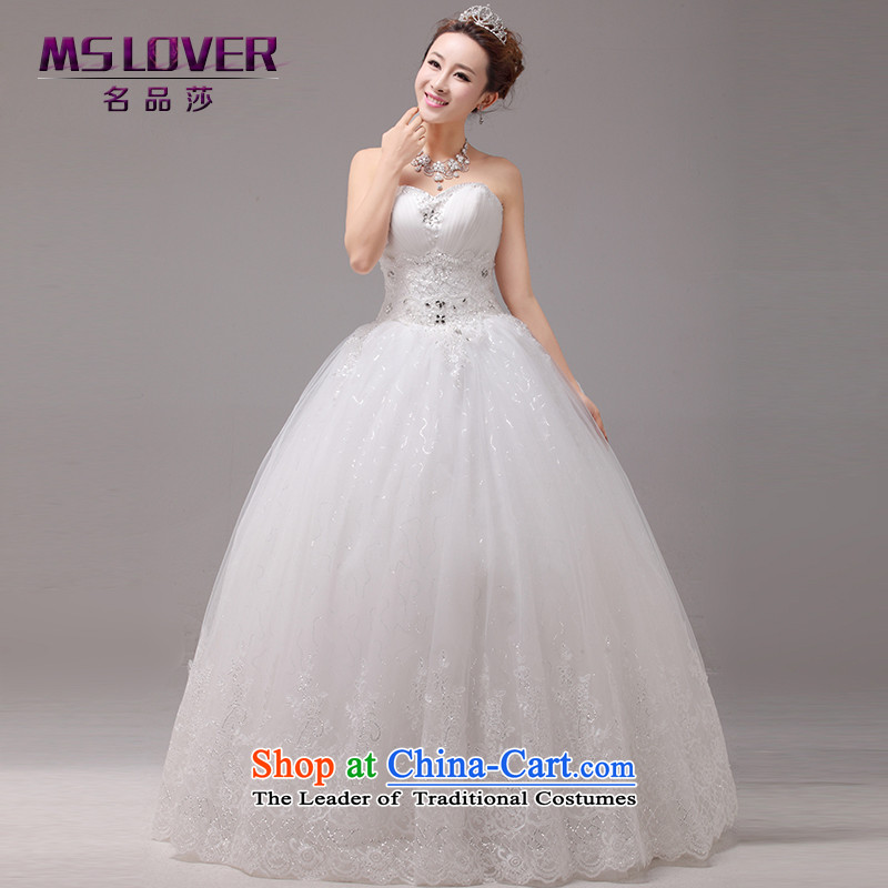 聽The new Korean-style mslover graphics to align with thin wedding crystal Princess Bride wedding sweet anointed chest lace wedding聽HS131004聽rice white 2 feet_ of PUERTORRICANS waist