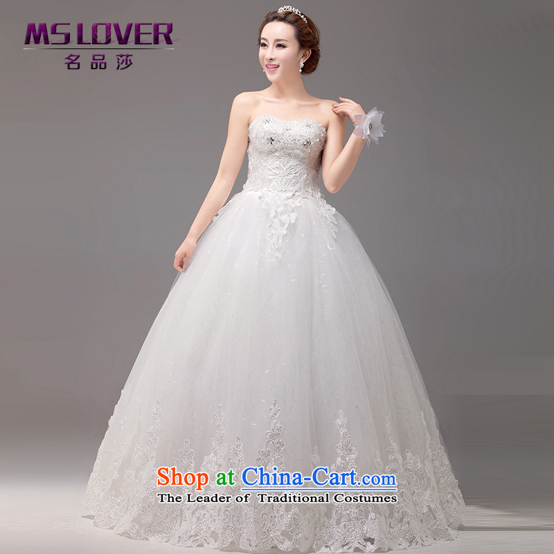 �The Korean version of the temperament video mslover thin lace crystal Princess Bride anointed chest straps to bride wedding�HS131011�M�L (2 feet waistline white 2)