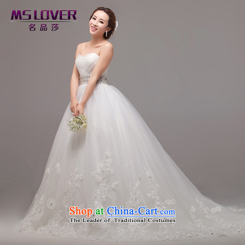 Mslover?Deluxe Big tail wedding anointed chest lace video thin wedding wedding church primary wedding custom wedding?HS131009?tail?XS( waist 1 feet 9)