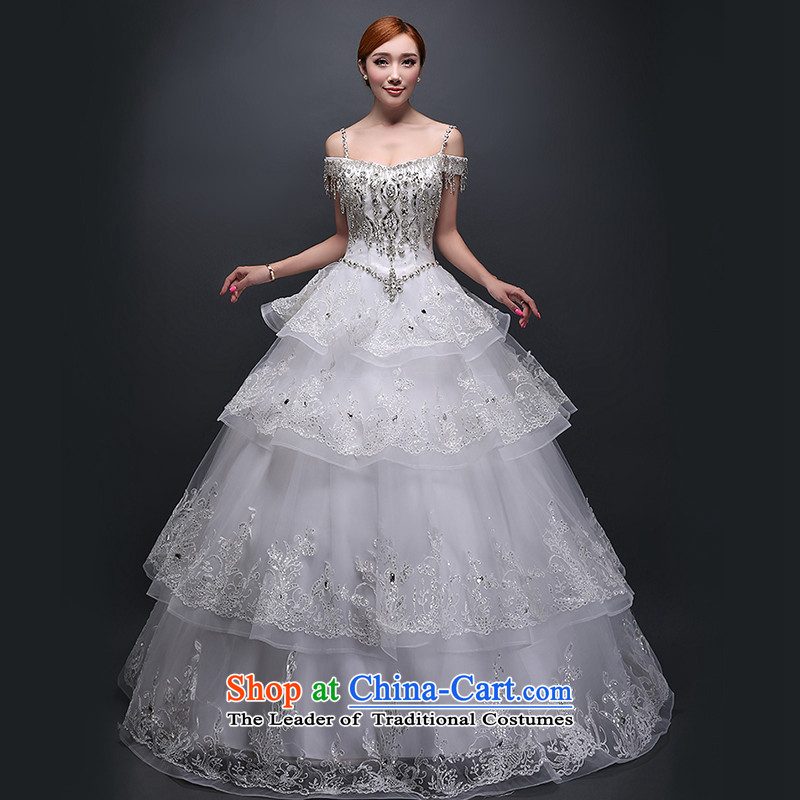 Hei Kaki wedding dresses new 2015 autumn and winter field shoulder to shoulder strap white align bride wedding ivory聽M