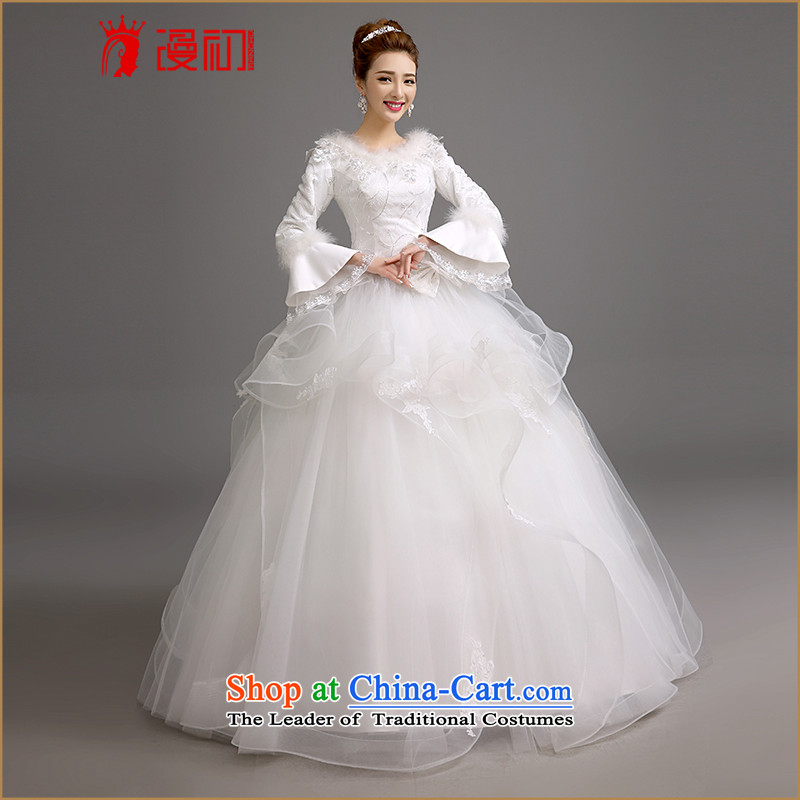 The beginning of the winter new man marriages wedding dresses Korean version thin thick wedding thick warm long-sleeved bon bon skirt wedding white?L code