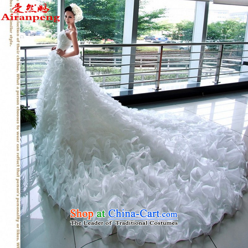 Love So peng lai Sa Fei-Bohemia Korean Princess Bride tail wedding dresses Korean married New 67MM, white?XS package returning