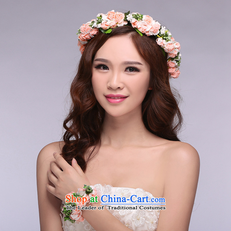 Hei Kaki 2015 new bride Head Ornaments Korean small fresh flower leis and wrist spent two piece TH01 champagne color code
