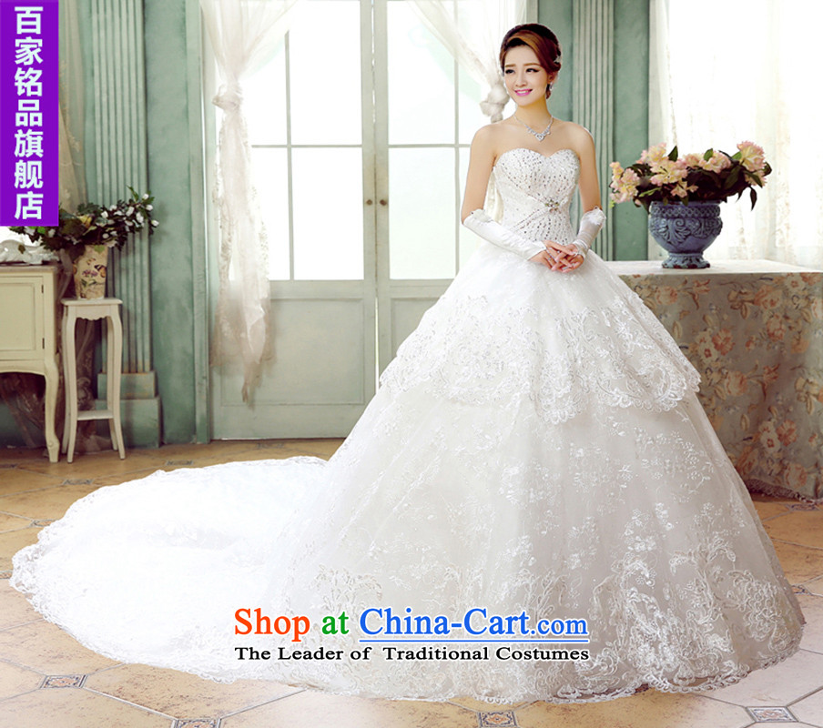 The smearing wedding winter?2015 Spring new stylish lace diamond wiping the chest straps deluxe long tail Sau San marriages wedding winter) White?XXXL?needed to 5-7 day shipping