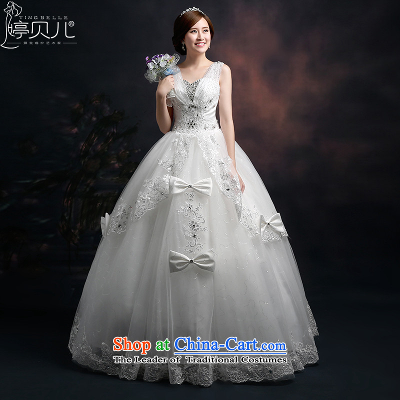 Beverly Ting 2015 new wedding shoulders Korean modern marriages wedding dress deep V foutune straps to align spring White聽XL