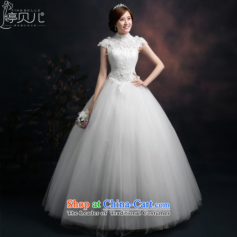 Beverly Ting wedding dresses new Word 2015 shoulder collar wedding lace Foutune of graphics to align the large thin princess bon bon skirt white�L
