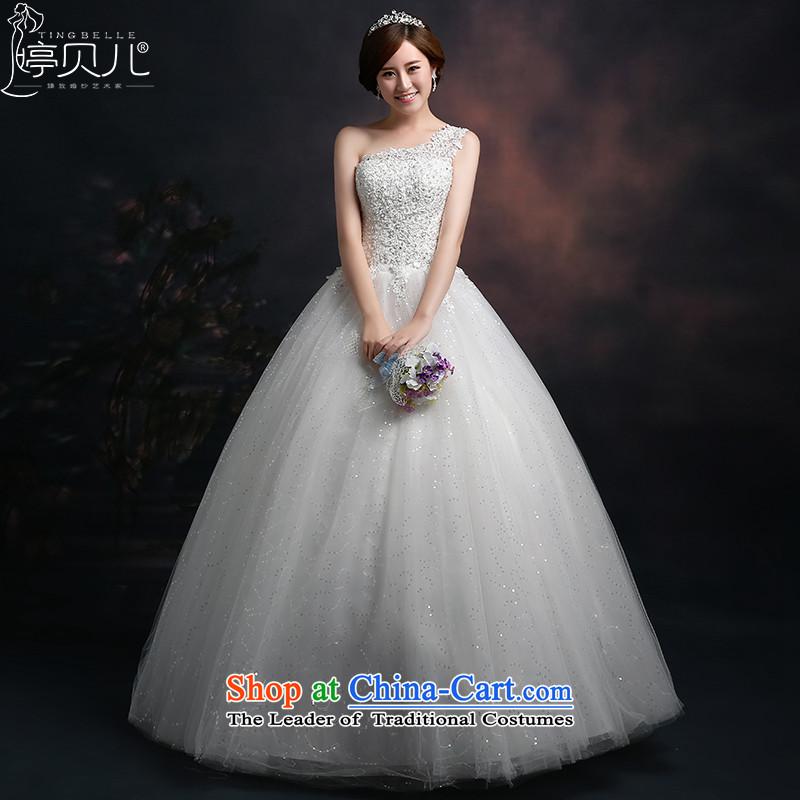 Beverly Ting wedding dresses 2015 new Korean fashion shoulder wedding anointed chest large diamond princess bon bon skirt video thin White聽XXL