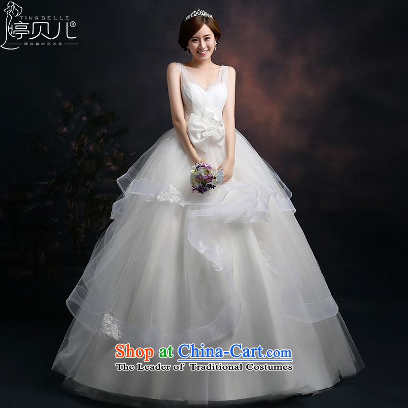 Beverly Ting 2015 new stylish wedding dresses Korean shoulders deep V wedding a shoulder straps align field to Large video thin spring White聽XL