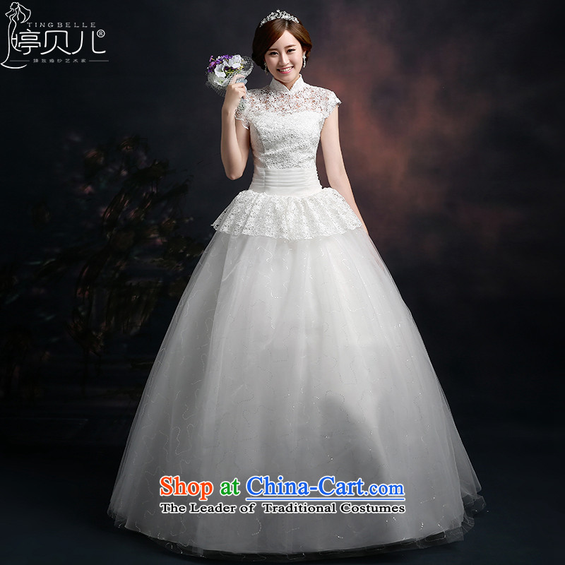 Beverly Ting 2015 new wedding band Korean fashion collar wedding lace pong with large numbers to align the princess bon bon skirt white�L