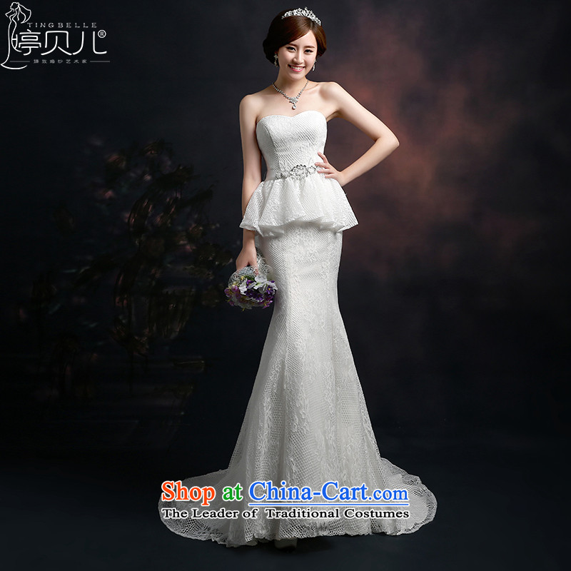 Beverly Ting wedding tail 2015 new spring and summer Korean Sau San video thin crowsfoot wedding dresses and chest straps Large White XL
