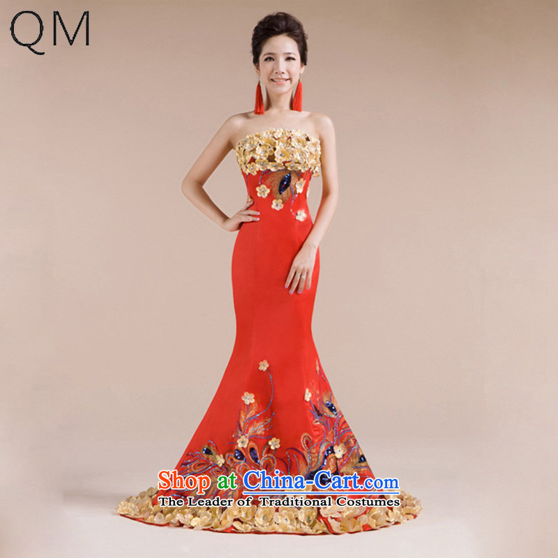 The end of the light (QM) Fung Mudan Multiple stereo flower embroidery wedding dress Phoenix fine evening dresses?CTX?RED?S
