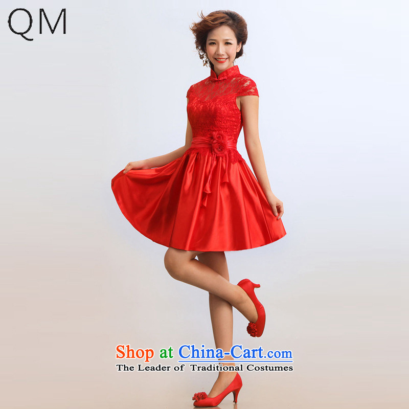 The end of the light (QM) Bride wedding dresses, improved stylish summer short bride services under the auspices of Qipao?CTX?RED?L