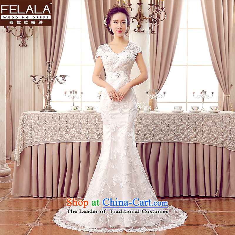 Ferrara Korean style wedding dress tail wedding dress wedding winter bride crowsfoot wedding female 2015 wedding new strap wedding XL(2 trailing foot 2 Ferrara wedding (FELALA) , , , shopping on the Internet