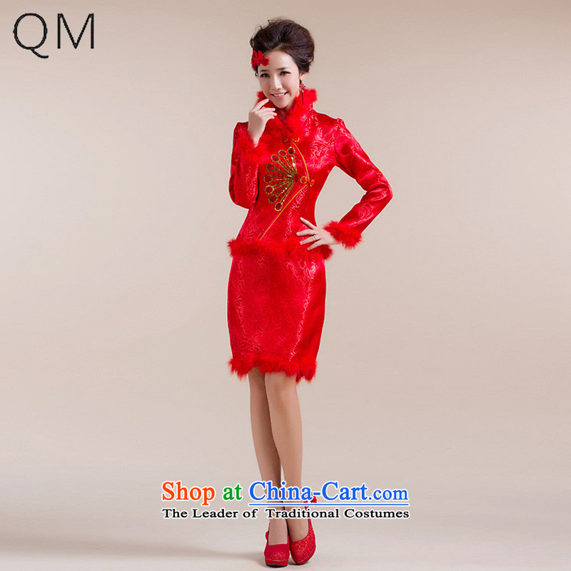 The end of the light (QM) bows qipao qipao marriage winter cotton short of qipao cotton catering services folder bows?QP-5002 CTX?RED?S