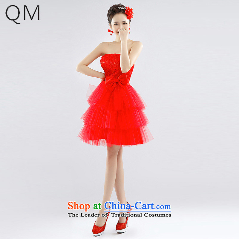 The end of the light _QM_ Water-soluble lace small wedding dresses bridesmaid dresses marriages wedding CTX LF1002 RED XL