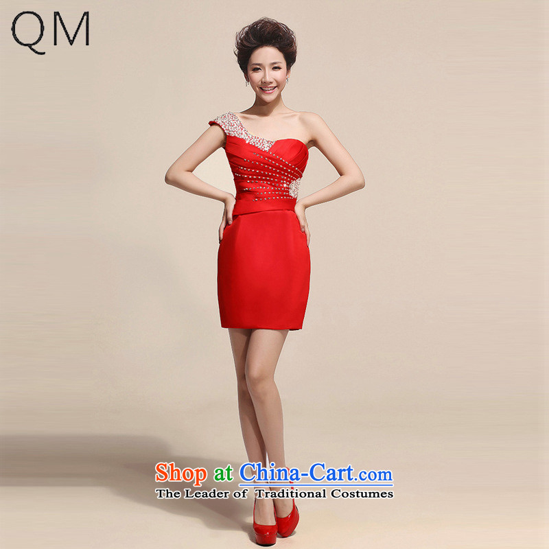 The end of the light (QM) Bride banquet style single shoulder dress small dress skirt?CTX LF149?RED?L