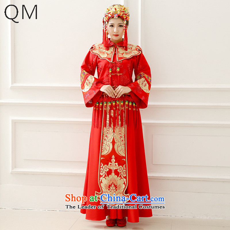 The end of the light (QM) in Sau Wo Service bridal dresses Chinese Antique bows to marry a long-sleeved Tang Dynasty Sau Wo Service CTX XH-03 RED M