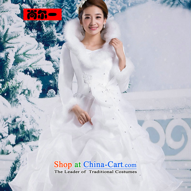Yet a winter, Korean winter wedding dresses 2014 new upscale collar for long-sleeved cotton plus gross thick to align the white general cuff YSB2082?M