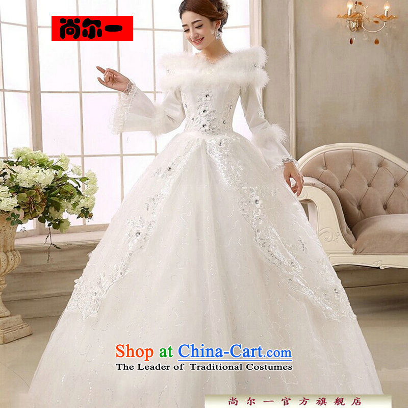 Naoji a 2014 new bride wedding dresses Korean straps for winter wedding long-sleeved sweet plus wedding cs6149 cotton white?S