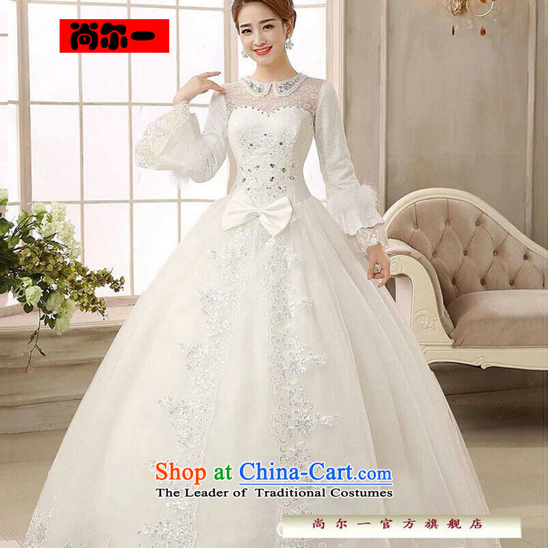 Naoji a 2014 new bride wedding dresses Korean straps winter wedding long-sleeved sweet thick cotton folder wedding js1207 White?XL