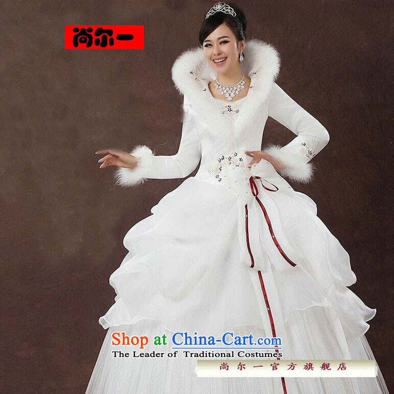 Naoji a?2014 new bride wedding dresses Korean straps winter wedding long-sleeved sweet plus wedding js3189 cotton white?S