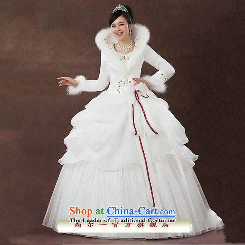 Naoji a 2014 new bride wedding dresses Korean straps winter wedding long-sleeved sweet plus cotton wedding js3189 white S naoji a , , , shopping on the Internet