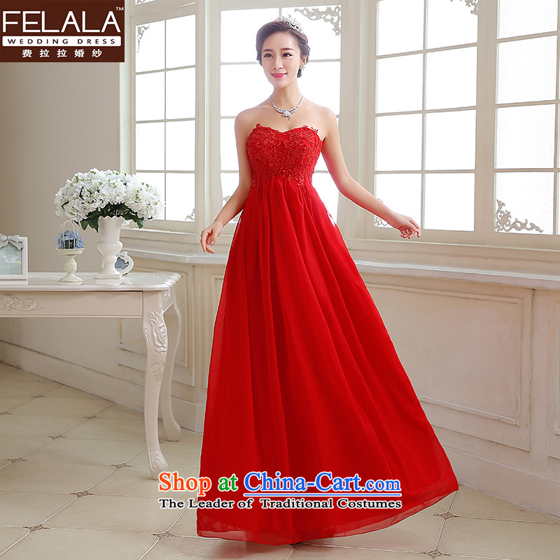 2015�new bride dress sweet heart-shaped anointed chest shoulders two full dress bows services women during pregnancy and breast,�XL(2 red feet 2)