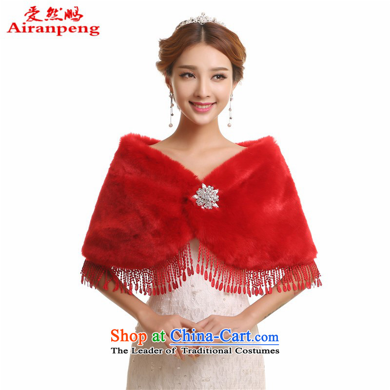 Warm winter emulation fox gross red bride wedding wedding dresses marriage cloak jacket coat fur shawl red