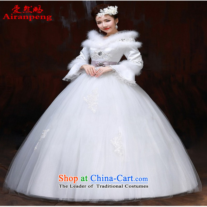 2014 new bride winter thick winter of wedding long-sleeved wedding and winter field shoulder straps for larger Fat MM thin client to the size of the video to be refunded