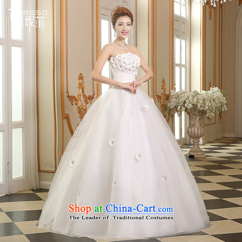 The Korean version of the divas autumn 2015 new stylish wedding Korean chest to wipe bon bon skirt wedding video coltish large waist Sau San code pregnant women wedding custom wedding white?S_+ shawl_