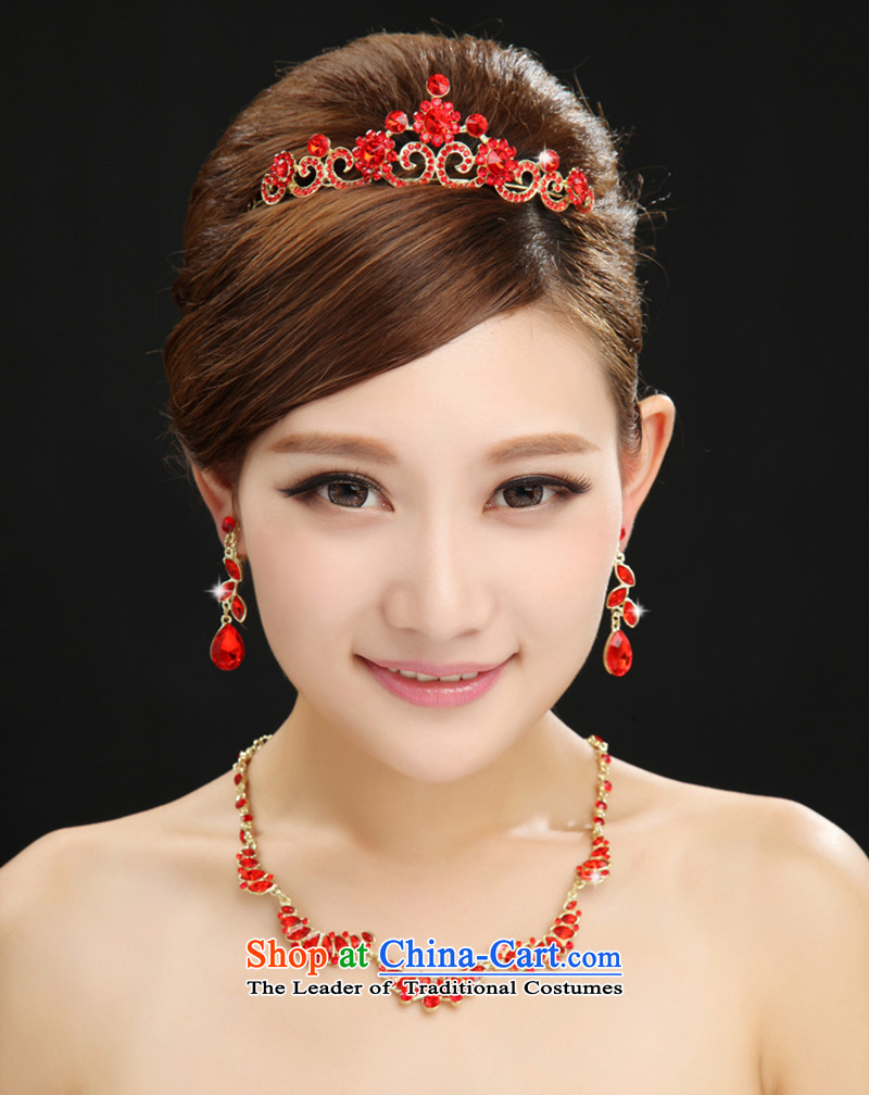 Marriages red crown necklace three piece wedding ornaments wedding water drilling earrings wedding accessories accessories red