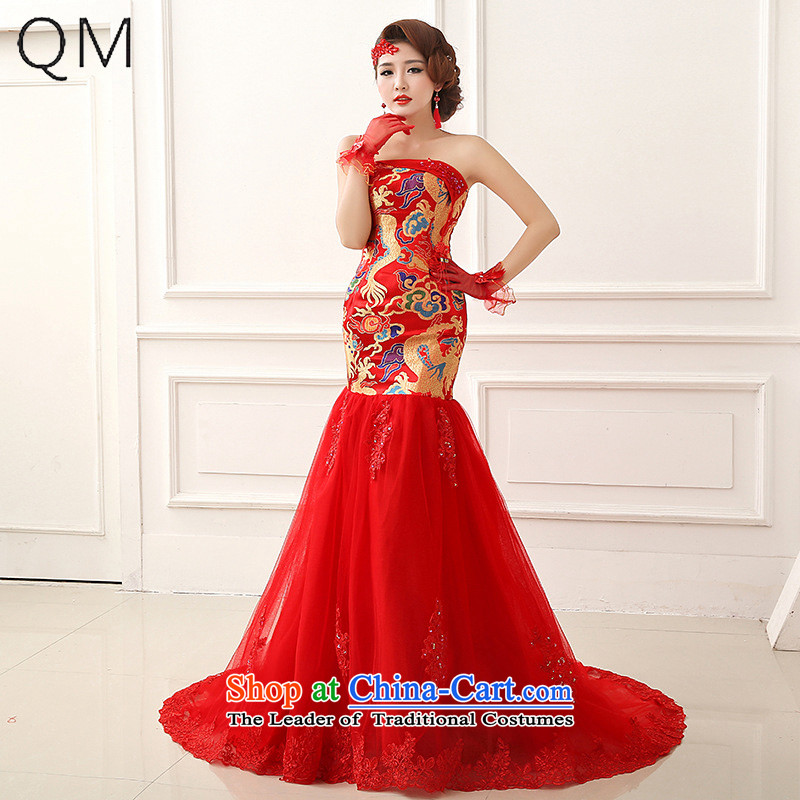 The end of the light (QM) crowsfoot tail Sau San evening dress robes of the dragon, marriage and chest Chinese dresses bows�CTX LF252�RED�L