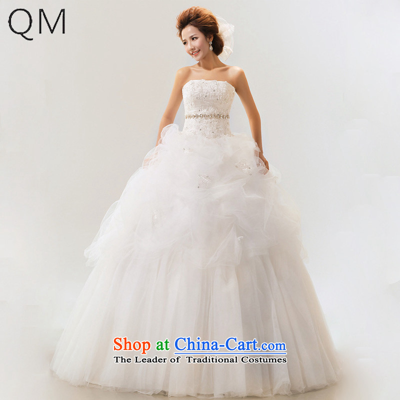 The end of the light (QM) Wedding wedding sweet anointed wedding to align the chest straps bride wedding dresses?CTX?m White?S