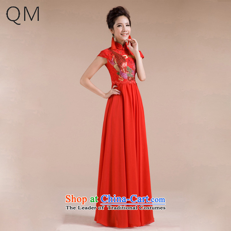The end of the light (QM) Wedding bride embroidery improved qipao cheongsam dress marriage retro CTX QP-102 RED?L
