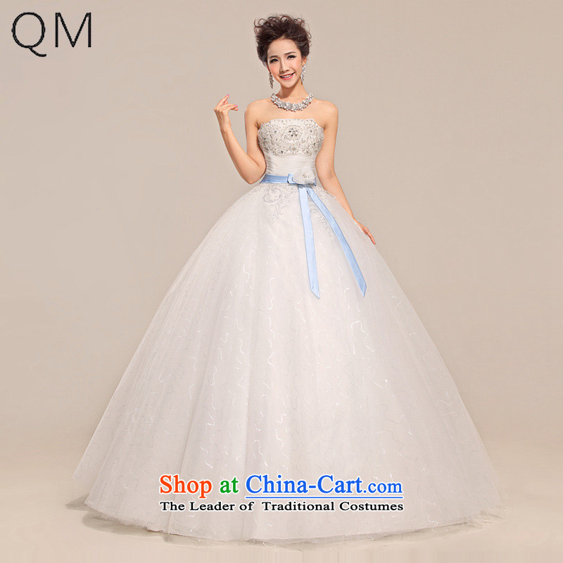 The end of the light (QM) wedding dresses Top Loin ribbon simplistic elegance with bore wedding CTX HS031 white�L