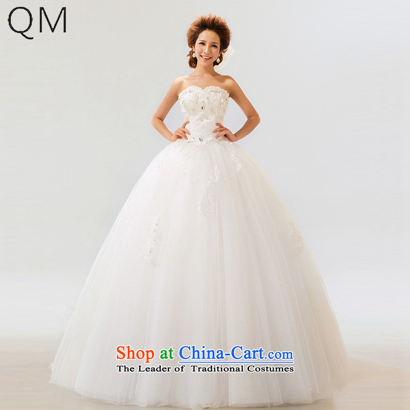 The end of the light _QM_ wedding dresses bride anointed chest Princess Bride marriage wedding dresses CTX m White聽XXL