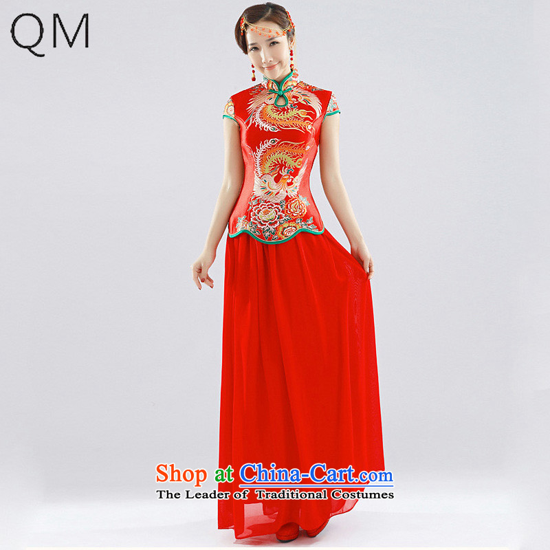 The end of the light (QM) Wedding dress red marriage services wedding CTX QP112 bows red?S