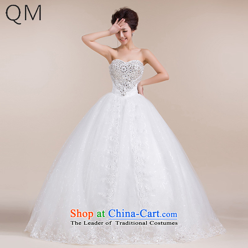 The end of the light (QM) Wedding heart on chip decorated with chest lace drag to Puntland skirt wedding dresses CTX HS551 m White�XXL
