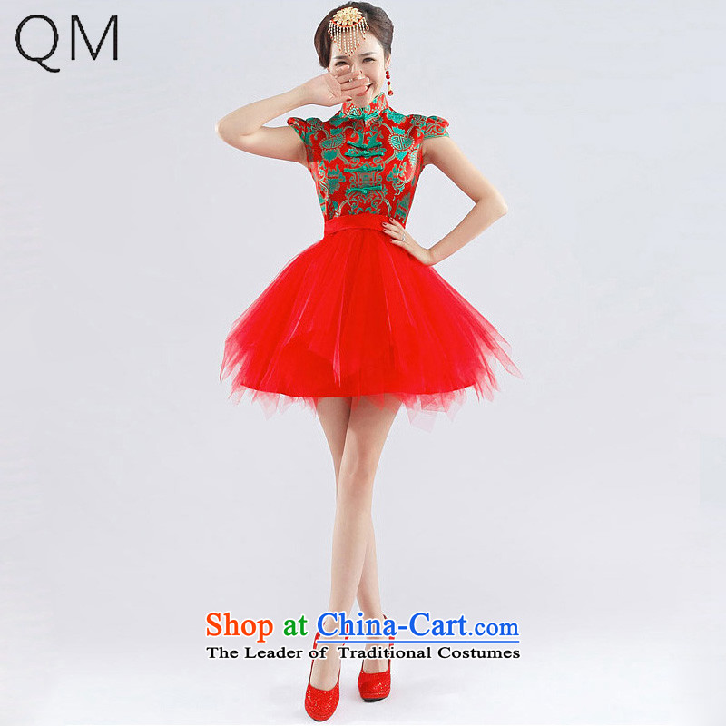 The end of the light _QM_ lace sexy short of Chinese small dress marriage bows qipao Sau San CTX QP-116 RED S