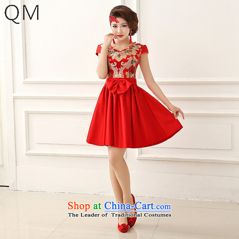The end of the light _QM_ dress cheongsam red bows service long-sleeved wedding marriage bride with CTX QP152 RED M