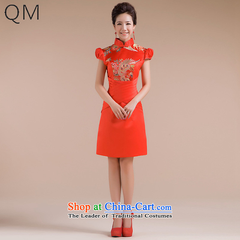 The end of the light _QM_ female cheongsam dress marriages bows service in a small dress CTX RED S