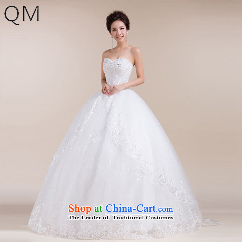 The end of the light _QM_ Fung-wipe skirt drag geocentric chest waist large bow tie stylish wedding dresses CTX HS552 m White聽XL